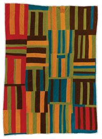 Willie �€œMa Willie�€ Abrams, 1897-1987. �€œRoman Stripes�€ variation. Ca. 1975, corduroy, 94 x 76 inches. q017-02.jpg