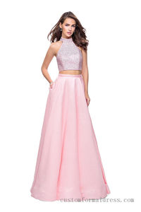 Bead Satin Two Piece Prom Dresses with Pockets