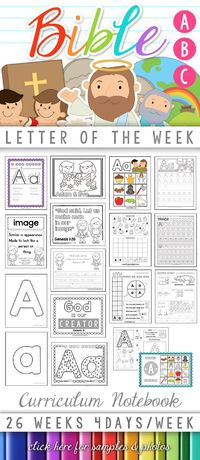 Bible ABC Letter of the Week Curriculum Notebook! One letter each week, focusing on a Bible character or theme. Scripture memory work as well as character developement/attributes of God are included with each week's lesson. Low-Prep, Low-INK, Instant ...