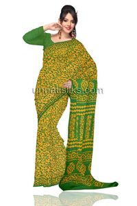 Attractive corporate green pure handloom Batik cotton sari