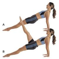 Reverse plank with leg raise -- Sit with legs outstretched, hands behind your butt, fingers forward. Press onto your hands, and lift your right leg, keeping hips raised. Hold 3 seconds. Repeat 5 times for each leg