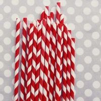 STRIPED PAPER STRAWS: RED  1 $4.00 Sweet striped straws add perfect retro charm to baby showers, wedding receptions, candy buffets, birthday parties, and any special event! Barber Pole Pixie Striped Paper Straws are made in USA from FDA approved...