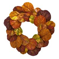 Artificial Fall Wreath -29 Inch Orange Fiddle Leaf Autumn Wreath https://wroughtironhaven.com