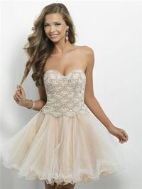 Blush 9650 Champagne Beaded Short Homecoming Dress