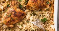 A one pan Oven Baked Chicken and Rice, made entirely in the oven! The rice is outrageously delicious from one little trick that makes all the difference.