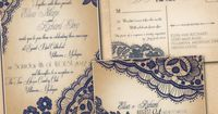 Printable VINTAGE WEDDING INVITATIONS Template - Navy Blue Lace Set