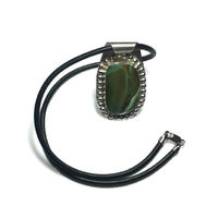 Sterling Silver and Authentic Natural Green Turquoise Pendant on Leather Necklace $62.99