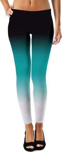 Black Teal White Ombre Women's Leggings $49.00