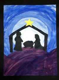 2nd Grade - Nativity Silhouette - Tempera and construction paper. Borrowed from the FABULOUS http://www.thatartistwoman.org/