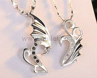 Gullei.com Custom Made Silver Lovers Couples Necklaces Set for 2