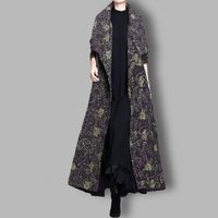 Winter Blue print Wool Coat, Maxi Large lapel Wool Coat Cloak, Women Coat, Plus Size Clothing, Long Coat, Winter Clothing