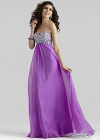Beautifully Beaded Bust Strapless Long Purple Clarisse 2306 Ball Dress
