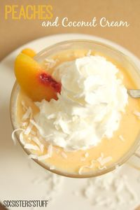 Peaches and Cream Coconut Smoothie on SixSistersStuff.com