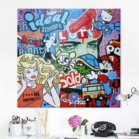 Pop Art Graffiti art Andy Warhol acrylic painting on canvas Wall Art wall Pictures for living Room home decor comic art caudros decoracion $199.00
