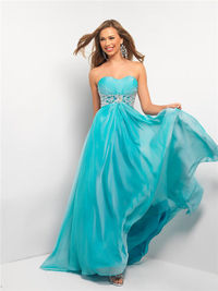 Strapless Beaded Waist Ruched Blush 9509 Chiffon Long Prom Gowns for Sale