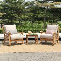 Abbington 3pc Outdoor Rocker Chat Set - Beige Cushion