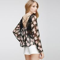 Sexy Open Back Seen Through Printed Split Front Long Sleeves Lace Rose Top Chiffon Top - Bonny YZOZO Boutique Store