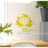 """Description:  Size : 17.5""""W x 14""""H ( 45cm x 36cm ) Category : Quote Wall Sticker Material : Vinyl Wall Sticker Room :bedroom, living room, office Color:Yellow Includes:Pumpkin, Words"""