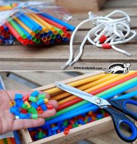 Straws, shoelaces and fine motor skills in children. Good idea for a Sunday School beading centre. Not as expensive as buying lots of beads. repostned by SOS Inc. Resources http://pinterest.com/sostherapy.