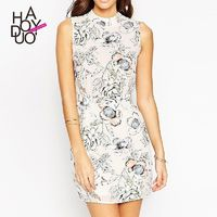 In summer 2017 new professional and feminine floral print skirt high waist slim dress - Bonny YZOZO Boutique Store