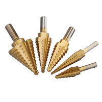Drillpro 5Pcs Titanium Plating 1/8-1-3/8 Inch Step Drill Bit Set Hole Puncher for Metal Wood Steel