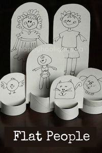Flat people: make a family of paper dolls with a piece of cardboard and a paper towel tube