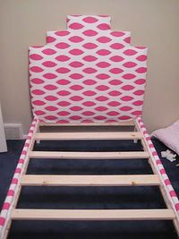 This lovely upholstered bed is made from an Ikea bed frame! Follow these instructions and you can make this too!