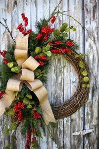 Grapevine Christmas Wreath with holly and greens