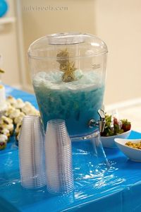 Blue Sea Foam Party Punch. I could easily re-do this for a Frozen-themed party, decked out with snowflakes.