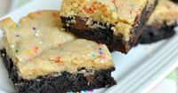 Soft, chewy Sugar Brookies are a delicious combo of sugar cookies and brownies. Be sure to add the extra sprinkles in this recipe!
