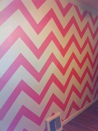 Pink Painted Chevron Wall. Super cute for an accent wall.-but maybe more neutral color