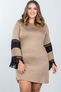 20% discount with BESTDEAL at checkout! Ladies fashion plus size boho mocha black contrast crochet mini dress $24.50