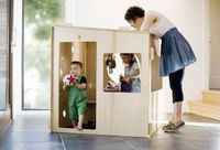 Puzzle Playhouse by Modern Playhouse. Requires no tools for assembly and can be set up for the day, inside or out, to then be stored easily in a closet, storage space, or even under the bed. #kids #playhouse #backtobasics