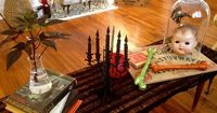 simple halloween coffee table styling