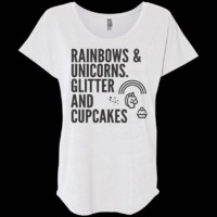 Rainbows & Unicorns. Glitter And Cupcakes. Ladies' Triblend Dolman Sleeve