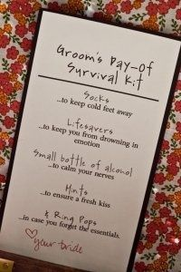 Groom Day-of Survival Kit | Weddings, Fun Stuff | Wedding Forums | WeddingWire