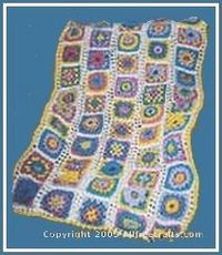 """Free Granny Square Crocheted Afghan by Grandmas Hookery Here's a chance to learn some new granny square crochet patterns. Combine them in this cheerful crocheted afghan that measures about 52"""" wide x 56"""" long."""