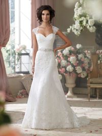 """Wedding Dresses 2014 Collection �€"""" Chantilly and corded lace, tulle and organza over luxurious satin slim A-line cage wedding dress with lace cap sleeves, tulle and lace appliquéd deep Queen Anne neckline, sweetheart bodice features draped Ch..."""