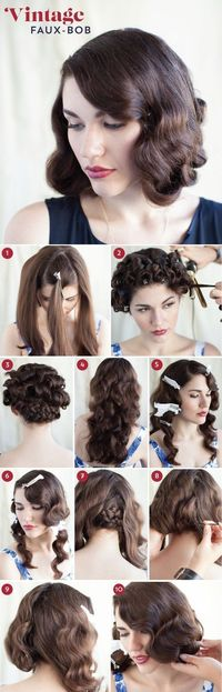 A 1920s Faux-Bob   27 Gorgeously Dreamy Vintage-Inspired Hair Tutorials http://blog.modcloth.com/2013/09/10/faux-real-a-wavy-faux-bob-how-to/