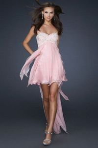 2014 Strapless Pink Beaded High Low Draped Prom Dress