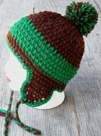 chocolate and mint crochet skater hat. Perfect for back to school!
