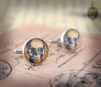 "SKULL Cufflinks - Gothic- Steampunk ""SKULL Society"" - vintage style - hand made - Gift for Him - $21.00"