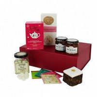 A stylish gift box filled with a selection of gourmet food. A gift card is included free of charge, with a personalised message of your choice, English Tea Shop Collection of Herbal teas 27.5g, Mercers Strawberry Preserve 130g, Mercers Breakfast Marmalade...