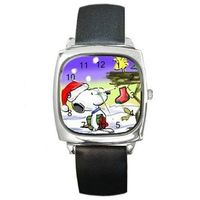 Christmas Snoopy and Woodstock in a Tree on a Silver Square Watch with Leather Band= $32.00
