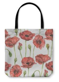 Tote Bag, Pattern With Bouquet Of Red Poppies