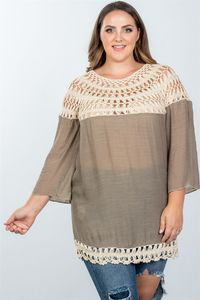 20% discount with BESTDEAL at checkout! Ladies fashion plus size mocha crochet neckline and hem top $24.00