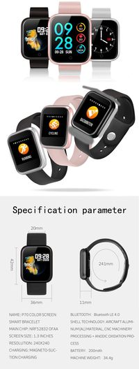 Bakeey P70 Heart Rate Sport Modes Alarm Blood Pressure Oxygen IP68 Waterproof Smart Watch