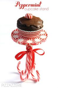If you are entertaining this holiday season, why not create a unique display that your guests will have never seen before? This peppermint cupcake stand is so e