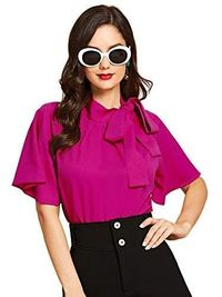 Casual Side Bow Tie Neck Short Sleeve Blouse $25.90