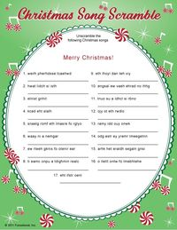 It is a graphic of Accomplished Christmas Song Scramble Free Printable